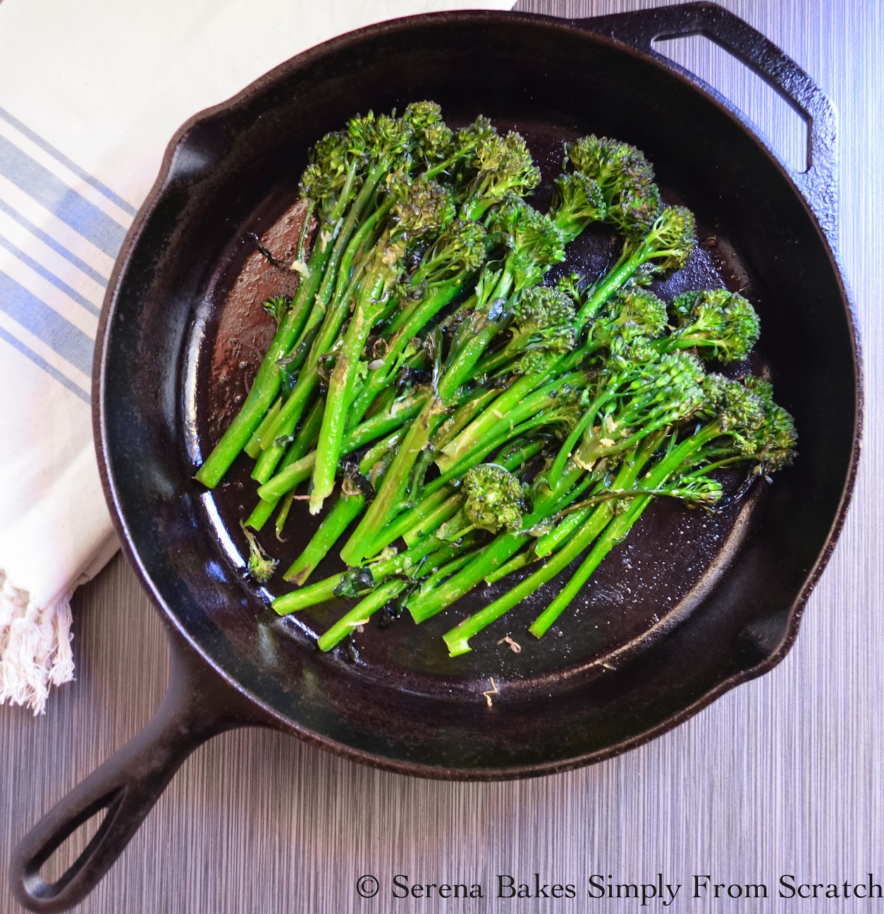 Oven Roasted Broccolini. So easy, healthy and delicious. | Serena Bakes Simply From Scratch