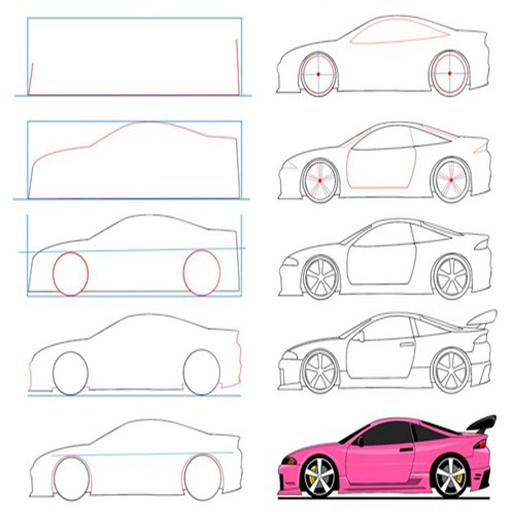 Cara Menggambar Mobil Balap dengan mudah dan cepat