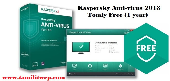 Kaspersky Antivirus 2018 Free for 1 year, 365 days Genuine