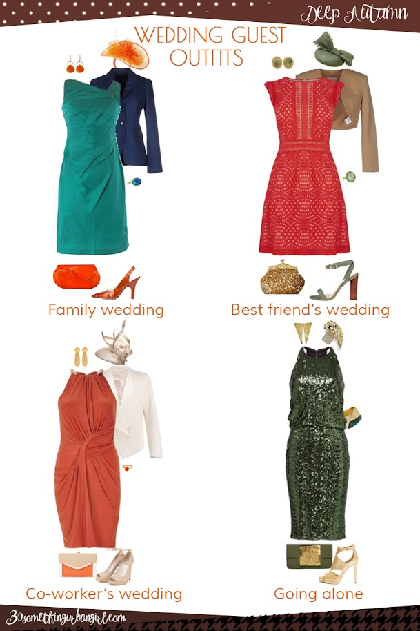 Wedding guest outfit ideas for Deep Autumn women by 30somethingurbangirl.com // Are you invited to a family, your best friend's or your co-worker's wedding, maybe going solo to a nuptials? Find pretty outfit ideas and look fabulous!