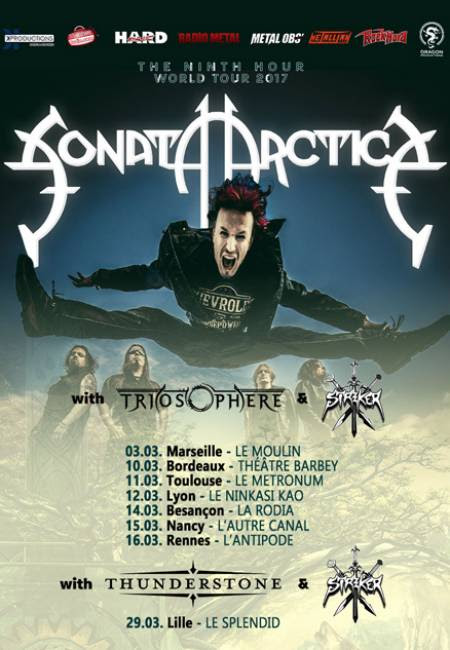 "Sonata Arctica ""The Ninth Hour World Tour 2017"" tournée française 2017"