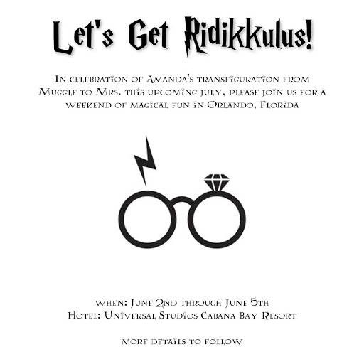 harry potter themed bachelorette party universal studios wizarding world of harry potter invite design