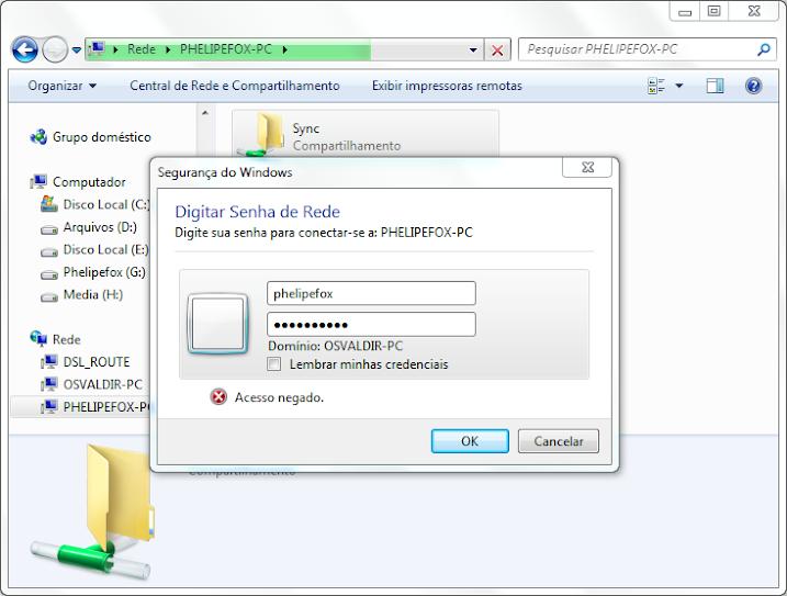 Segurança do Windows - É requisitado um usuário e senha para acessar o diretório compartilhado. (Conteúdo da janela: 1. Digitar Senha de Rede, 2. Digite sua senha para conectar-se a PHELIPEFOX-PC, 3. Campos de texto com uma caixa de seleção Lembrar minhas credenciais, 4. Acesso negado).