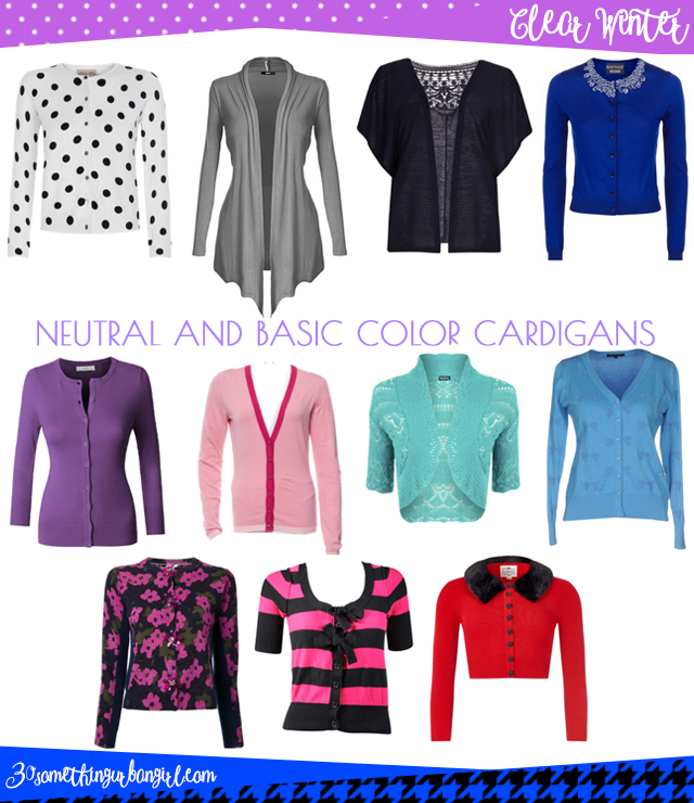 Wardrobe Essential: Neutral and basic color cardigans for Clear Winter women by 30somethingurbangirl.com