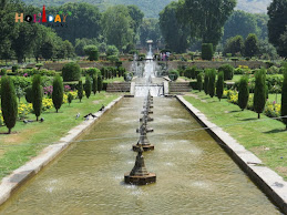 Terraces and fountains in water pools