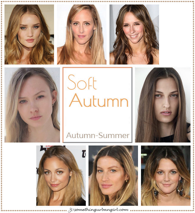 Soft Autumn, Autumn-Summer seasonal color celebrities by 30somethingurbangirl.com