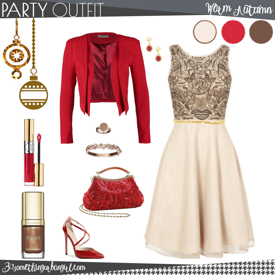 Pretty holiday party outfit for Warm Autumn seasonal color women