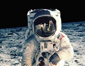First Man on the moon walking