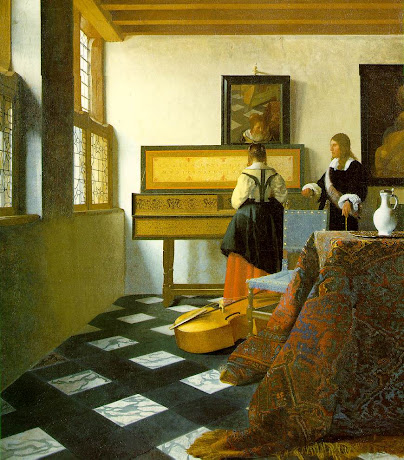 Vermeer ( A Lady Learning Music) -- 17th Century Genre Painting