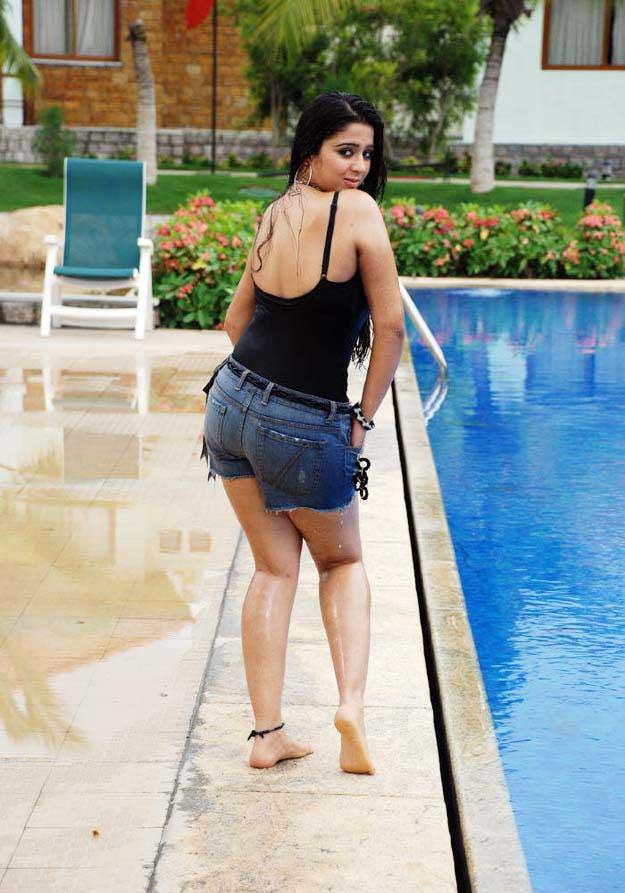 Sexy Butt Of Laxmi Rai In Blue Skimpy Gown