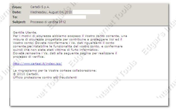 Ufficio Archivi Cartasi.Edgar S Internet Tools Phishing Cartasi 4 Agosto