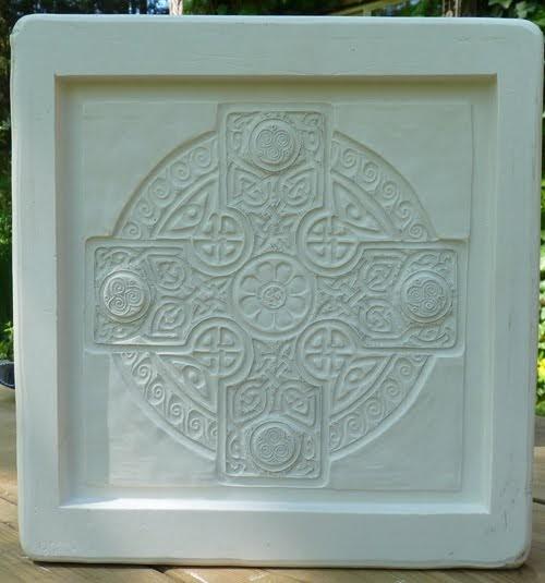 Decorative Handmade Ceramic Tile Celtic Cross Mold Done