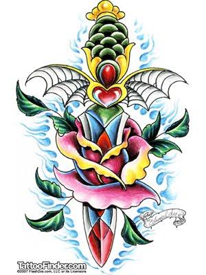 Ship Tattoo Flower Tattoo Design