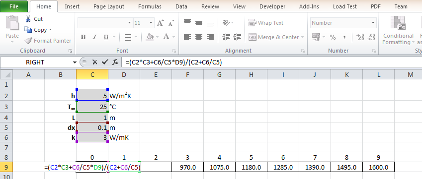 Finite difference heat transfer analyses in Excel