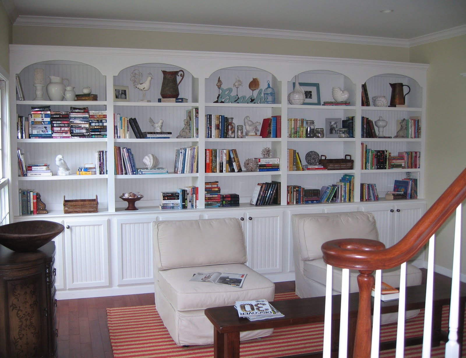 *I painted the bookshelves and trim the same colors as the trim and  cabinets in the rest of the house and you can find that info on my Q and A  Page.