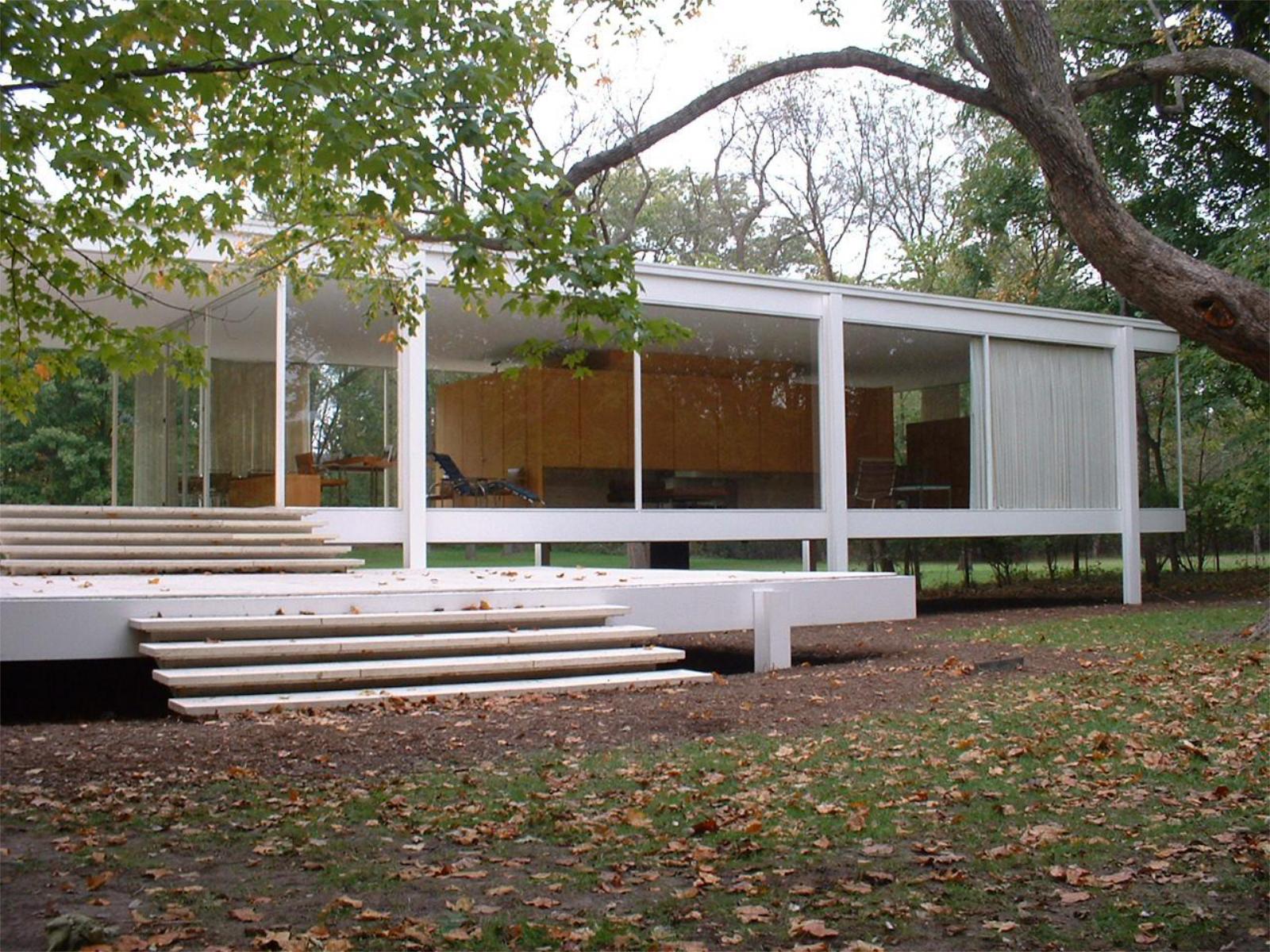 Floor Plans Open Concept Under The Sky Ludwig Mies Van Der Rohe Casa Farnsworth