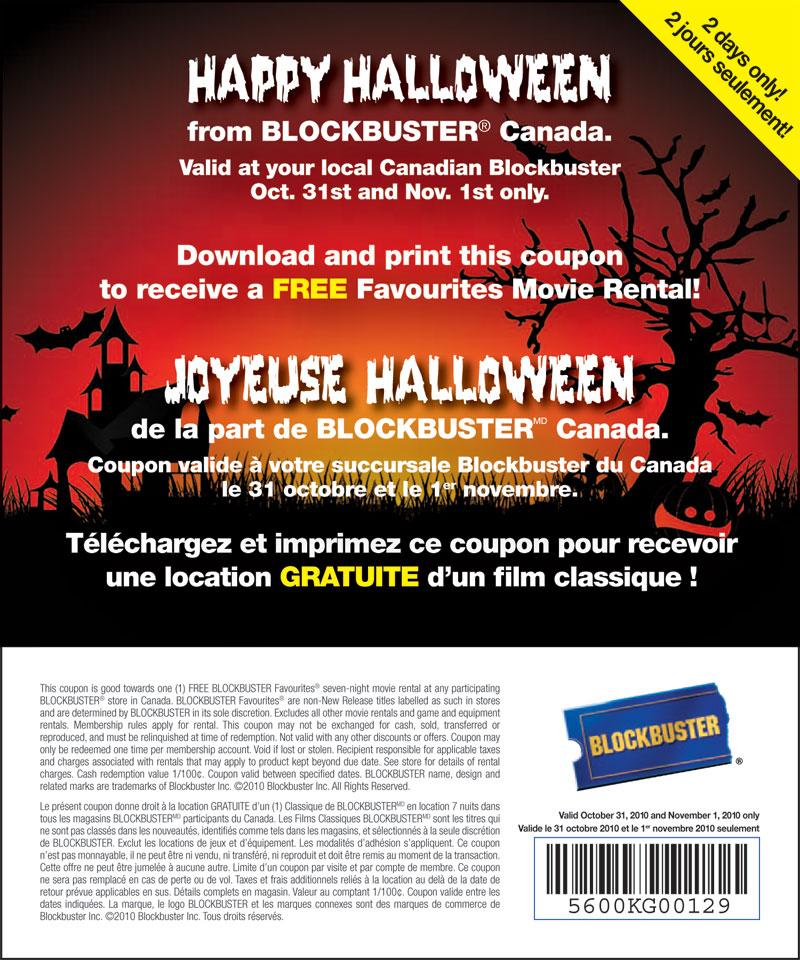 photograph regarding Blockbuster Printable Coupon identify Blockbuster Cost-free Online video Apartment Halloween Promo (October 31- Nov 1