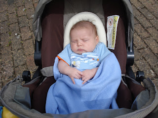Baby Boy asleep in his carseat on his pram in the sunshine