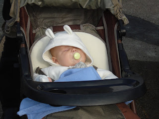 Baby Boy asleep in his pram on a walk