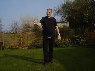 Daddy smiling having caught the baton
