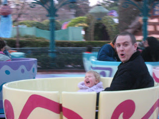 Daddy in a tea cup with Top Ender at Disney Land Paris 2006