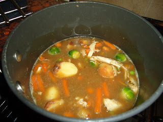 Christmas Leftovers Roast Dinner Soup Simmering