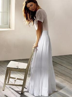 Ever Lovely: tea length long white skirts