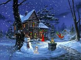 snow covered christmas house wallpaper
