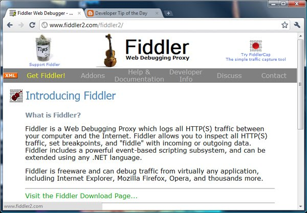 a screen shot of fiddler2.com