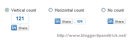 Linkedin share button types