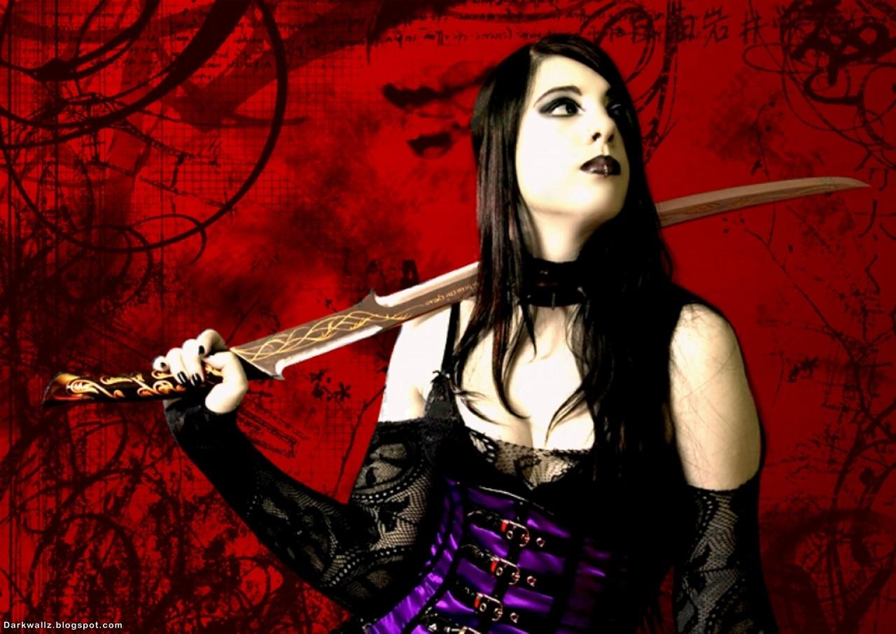 Gothic girl with sword dark gothic wallpaper dark - Girl with sword wallpaper ...
