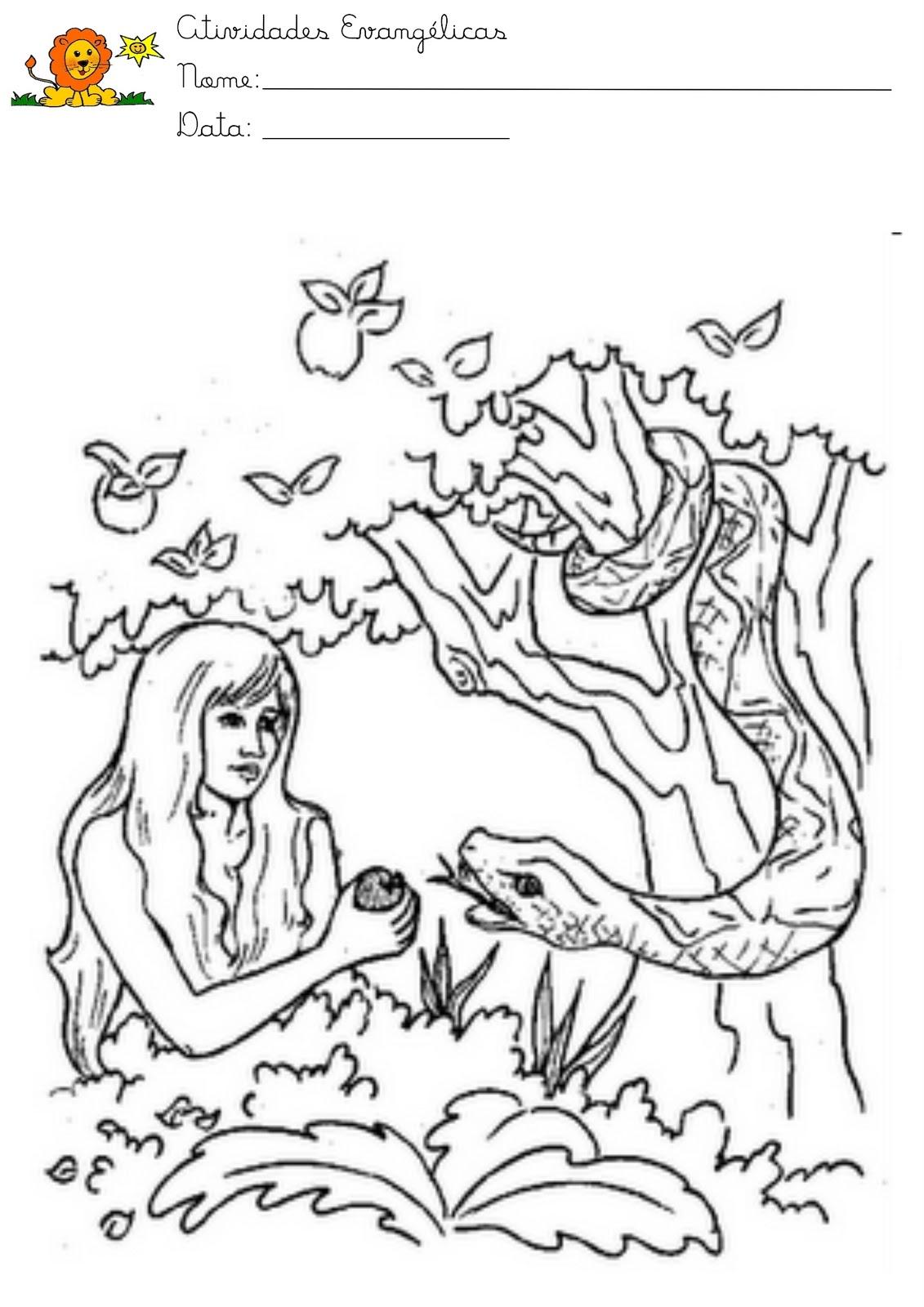 atividades evangélicas desenhos para pintar adão e eva