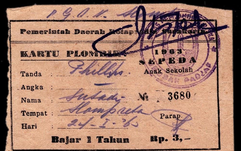 Koleksi Barang Djadoel KARTOE PLOMBIR SEPEDA 1963