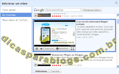 videos do youtube no blog