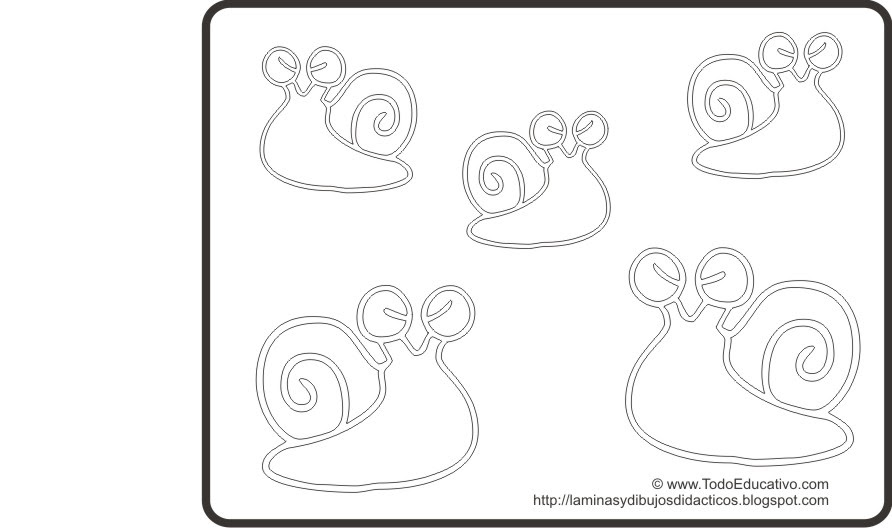 Dibujos Infantiles De Caracoles Para Colorear: Láminas Y Dibujos Didácticos Gratis Con Dibujos Para