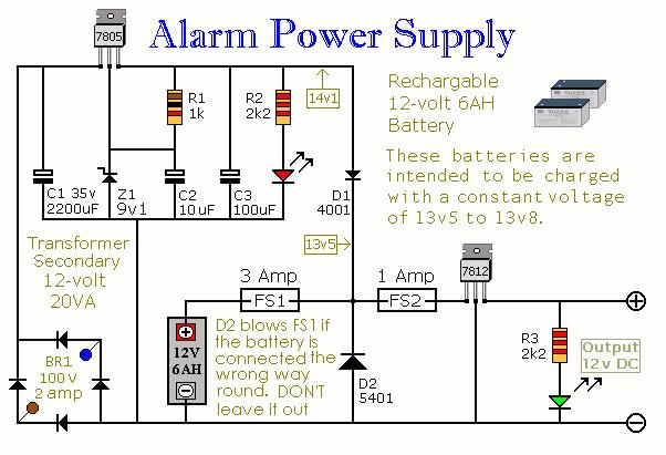 trik dan schema elektronik: Alarm Power Supply