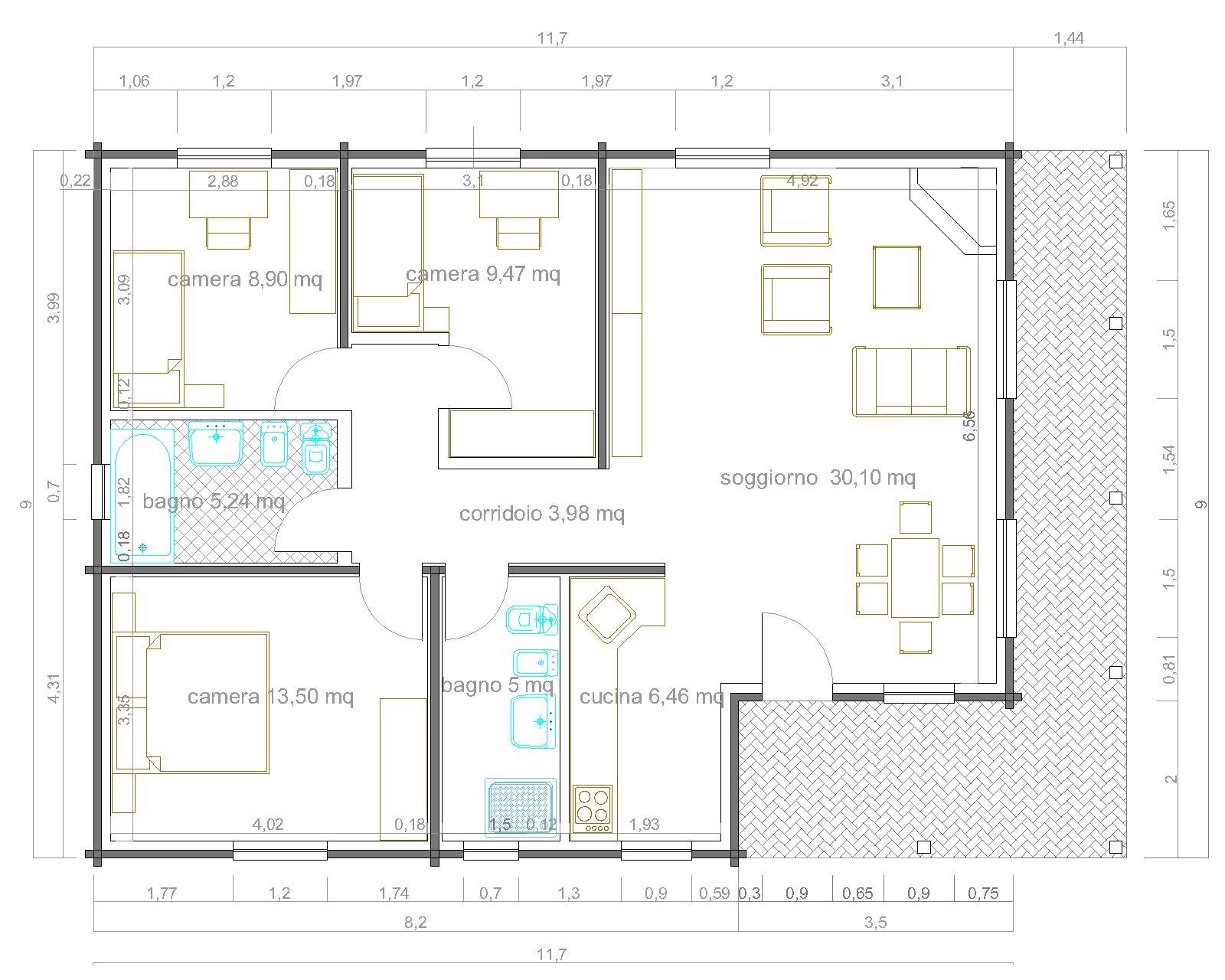 Progetti di case in legno casa 98 mq portico 20 mq for Progetti case interni