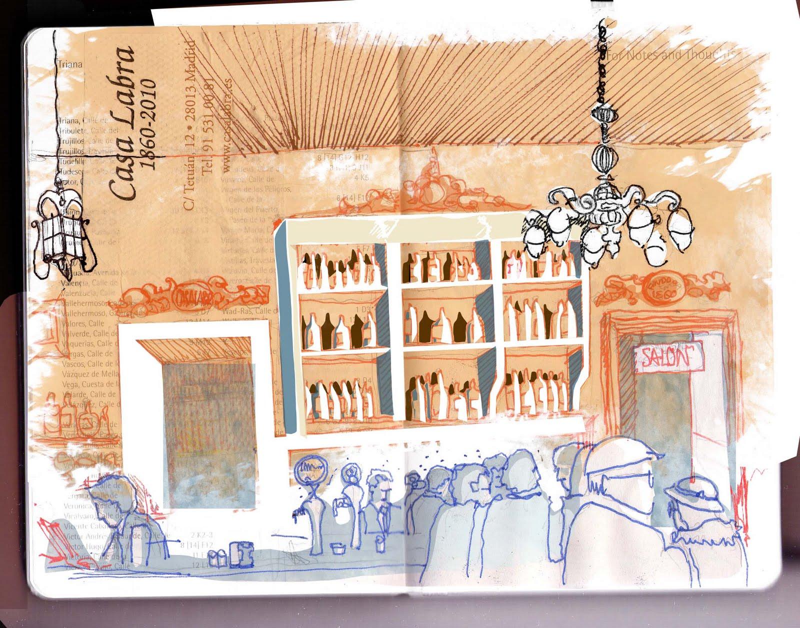 Dibujo de Casa Labra por Antonio Rodríguez Ledesma
