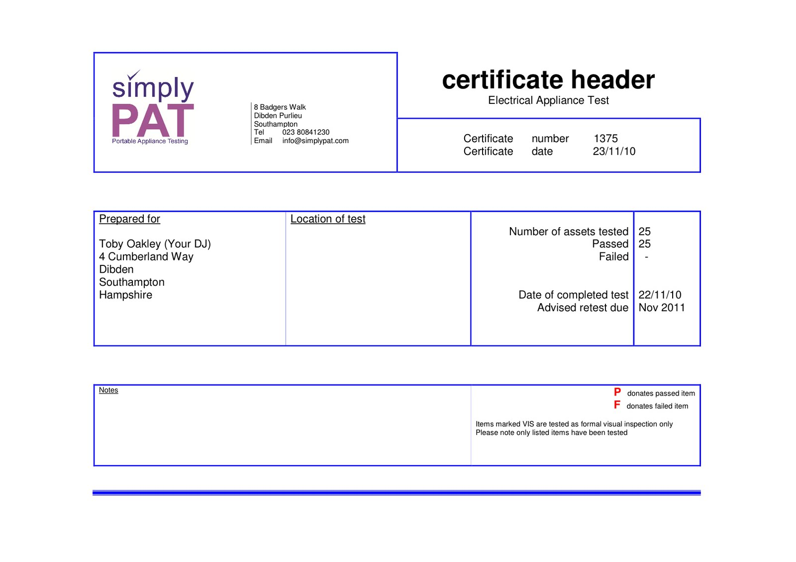 Public Liability (PLI) U0026 Portable Appliance Test (PAT) Certificates