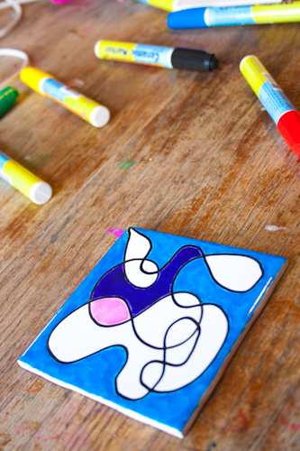 Craft Knife: Painted Ceramic Tile Coasters