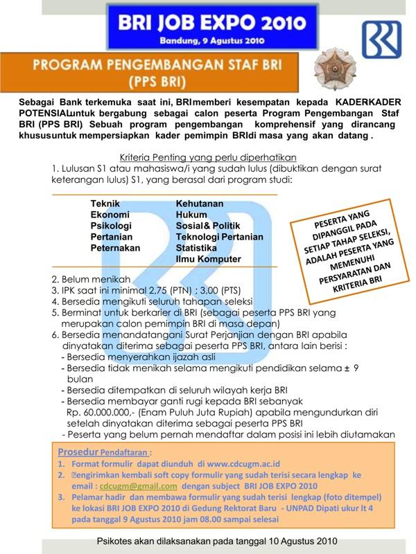 lowongan pps bri agustus 2010