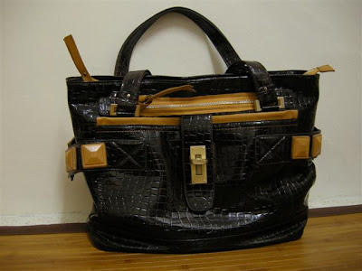 Chloe Eclipse Dark Brown Faux Crocodile Skin Shoulder Tote