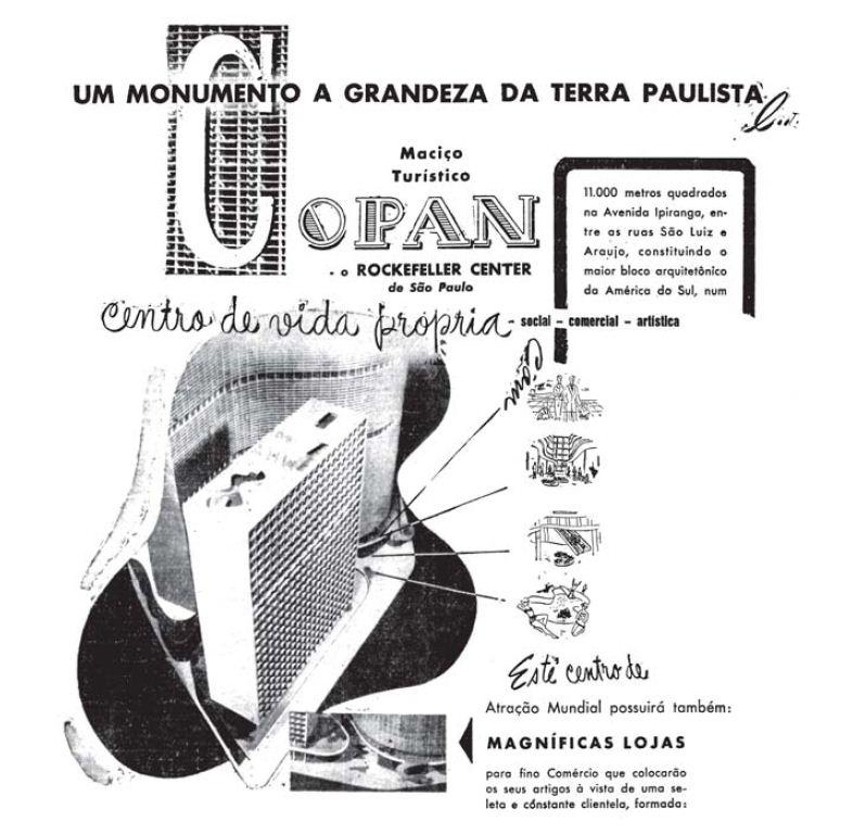 Anúncio do Edifício Copan, no centro de São Paulo, publicado em jornais no ano de 1952. Imagem: São Paulo Antiga.
