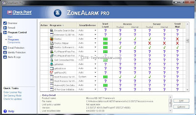 ZoneAlarm Pro Firewall Program Control