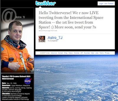 NASA Expedition 22 Flight Engineer T.J. Creamer Twitter