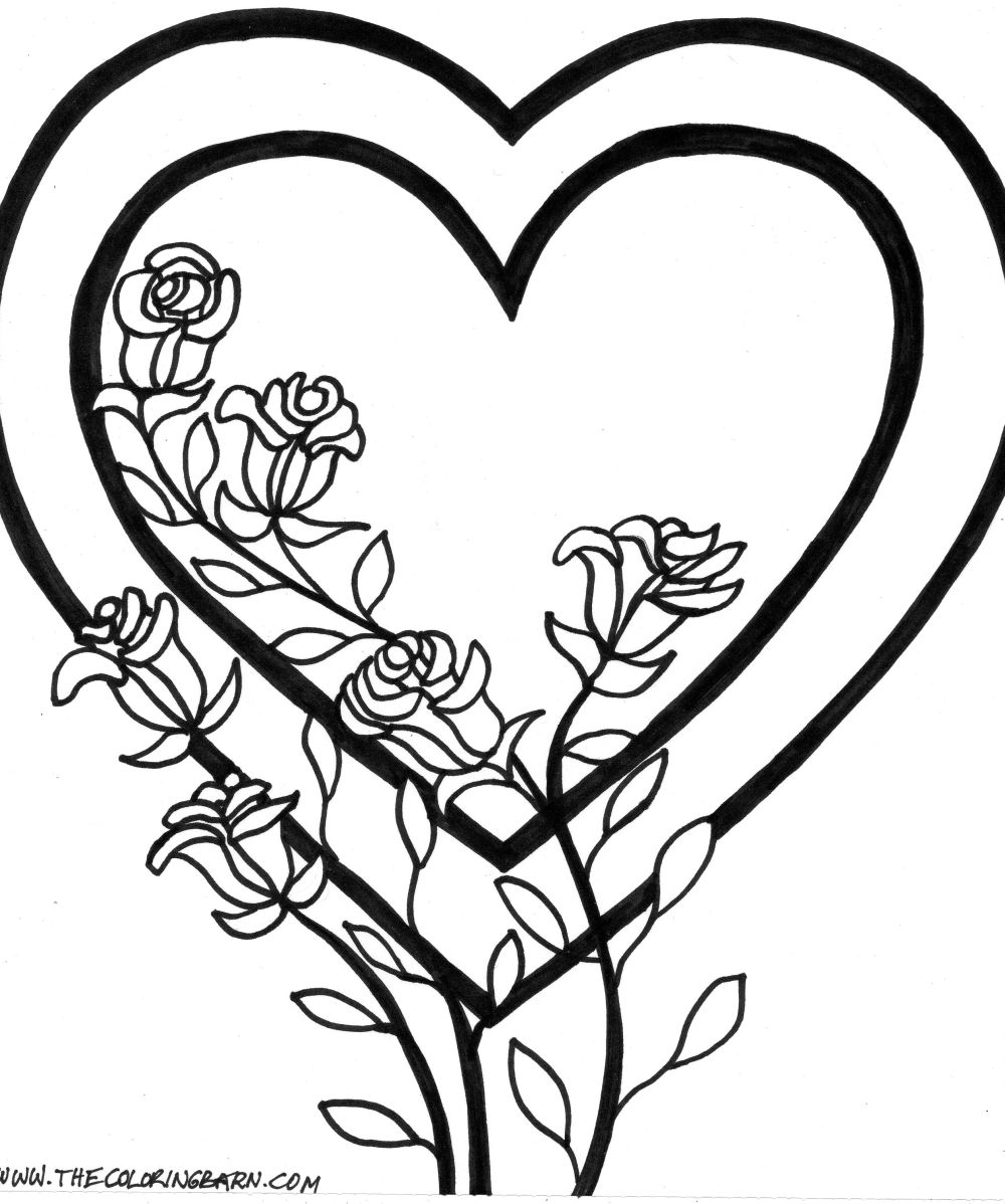 flowers and hearts coloring pages - valentine flowers coloring pages flower printables on