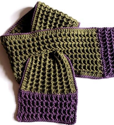 how to crochet, crochet patterns, waffle stitch, honeycomb, lattice, mittens, scarf,