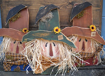 Olde Country Cupboard Wood Scarecrow Heads