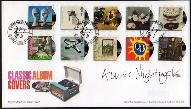 Classic Album Covers FDC signed by DJ Annie Nightingale.