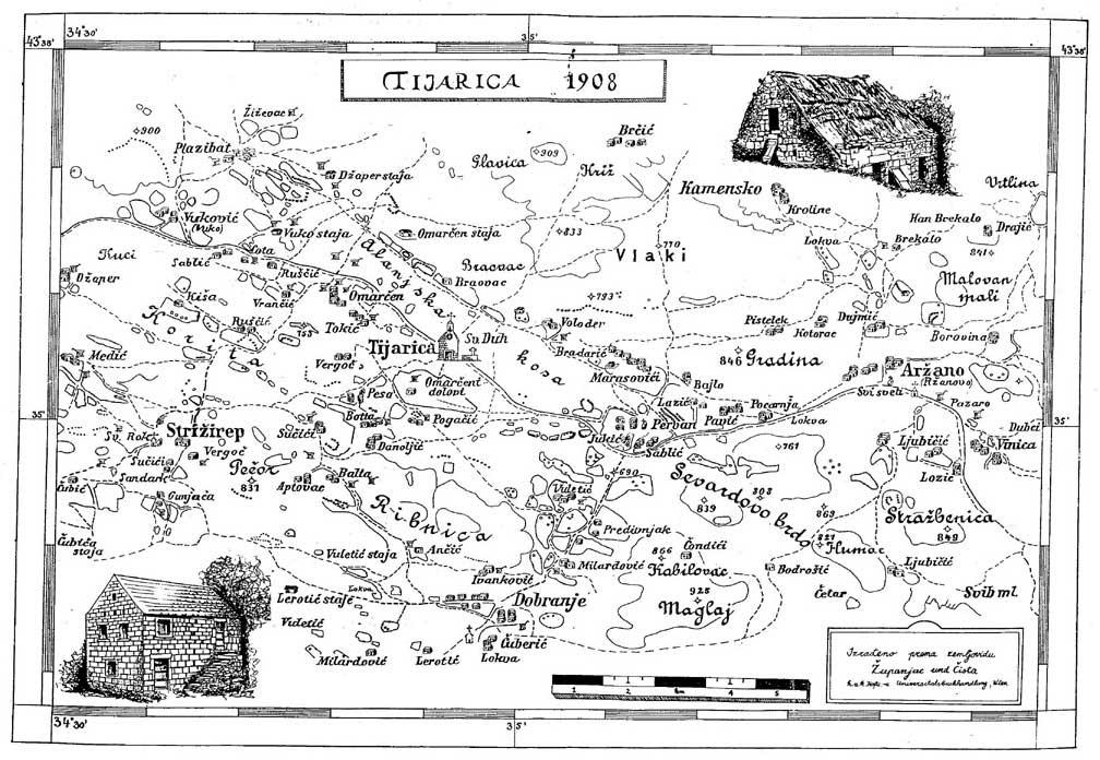 Tijarica 1908., karta